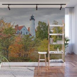 PORT IROQUOIS LIGHTHOUSE AUTUMN PHOTO - MICHIGAN UPPER PENINSULA FALL IMAGE - LANDSCAPE PHOTOGRAPHY Wall Mural