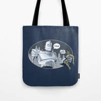 iron giant Tote Bags featuring The Giant & Groot by Daydreams and Giggles Studios