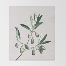 Olive Tree Branch Throw Blanket