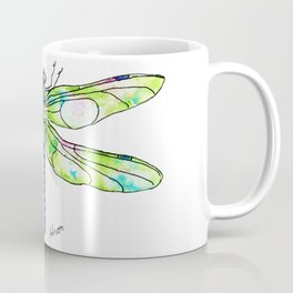 Watercolor Portrait of a Green Dragonfly  Coffee Mug