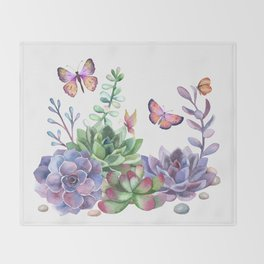 A Splendid Secret Succulent Garden With Butterfly Visitors Throw Blanket