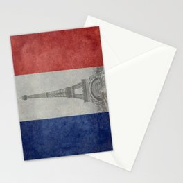 Flag of France with Eiffel Tower Stationery Cards