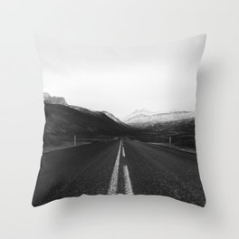 Roads End (Black and White) Throw Pillow