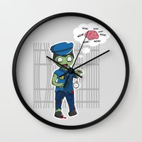 police Wall Clocks featuring Zombie Police by Jelo