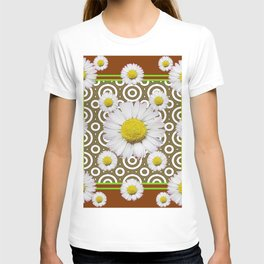 Modern Coffee Brown Deco Style Shasta Daisies Art T-shirt
