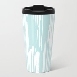 Bamboo Stripe Succulent Blue and White Travel Mug