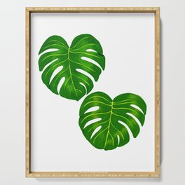 Green Tropical Monstera Deliciosa Leaves Serving Tray