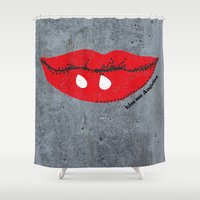 angelina jolie Shower Curtains featuring Kiss Me Angelina by FTF by marge fellerer