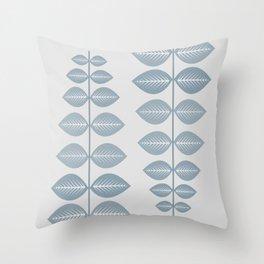 Scandinavian leaf (pale blue and light gray) Throw Pillow
