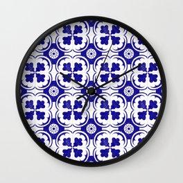 Spanish Tiles in Mediterranean Blue Wall Clock