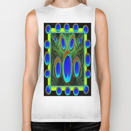 Decorative Black Pattern Blue Peacock Feather Eyes Art  Biker Tank