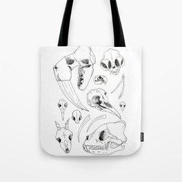 Black and White Hand Drawn Animal Skulls Print Tote Bag