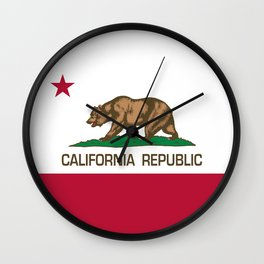 California Republic Flag - Bear Flag Wall Clock