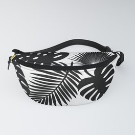 Tropical Leaves - Black on White Fanny Pack