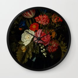 """Maria van Oosterwijck """"Flowers in a vase on a marble ledge"""" Wall Clock"""
