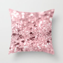 Rose Gold Blush Girls Glitter #1 #shiny #decor #art #society6 Throw Pillow