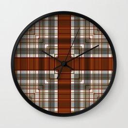 Burnt Sienna Plaid Pattern Wall Clock