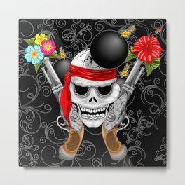 Pirate Skull, Ancient Guns, Flowers and Cannonballs Metal Print