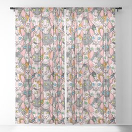 diverse sphynx cat allover print Sheer Curtain