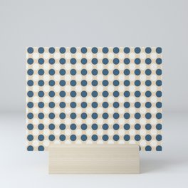 Dark Blue and Off White Uniform Large Polka Dots Pattern on Beige Matches Chinese Porcelain Blue Mini Art Print
