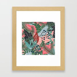 modern christmas abstract floral illustration pink blue green pattern Framed Art Print