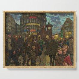 Bustling Berlin Street, Twilight, 1920's by Hans Baluschek Serving Tray