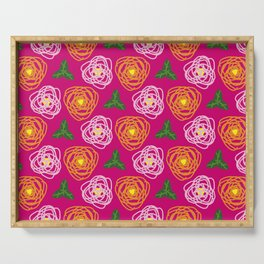 Bright pink floral Serving Tray