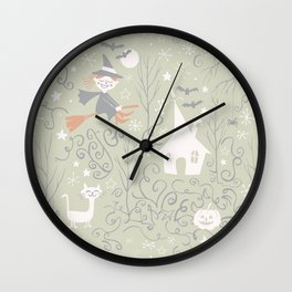 Little witch flying back home in Halloween Wall Clock