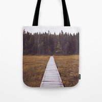 hiking Tote Bags featuring Fall Hiking by Simon Laroche