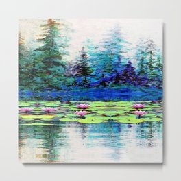 BLUE SPRUCE GREEN LILY PADS LAKE ART Metal Print
