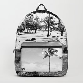 palm tree with cloudy sky in black and white Backpack