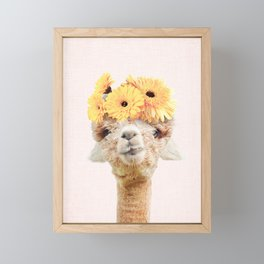 Alpaca Flowers Framed Mini Art Print