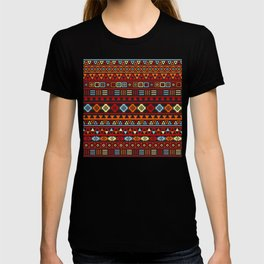 Aztec Influence Ptn IV Orange Red Blue Black Yellow T-shirt