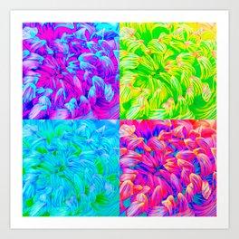 Pop Art Inspired Flowers - 4 in 1 Art Print