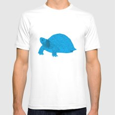 Turtle Illustration Blue Mens Fitted Tee White MEDIUM