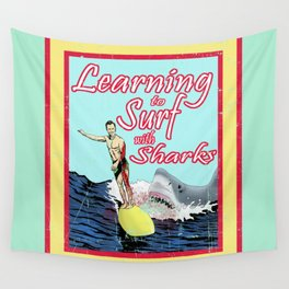 Learning to Surf with Sharks Wall Tapestry