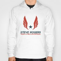 steve rogers Hoodies featuring Steve Rogers Track & Field Invitational by garywithrow