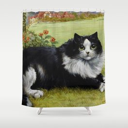 Black & White Kitty - Louis Wain Cats Shower Curtain