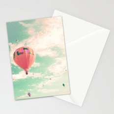 Pink nursery hot air balloons Stationery Cards
