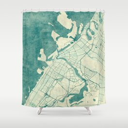 Dubai Map Blue Vintage Shower Curtain