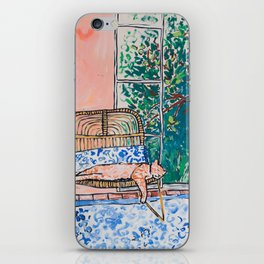 Napping Ginger Cat in Pink Jungle Garden Room iPhone Skin