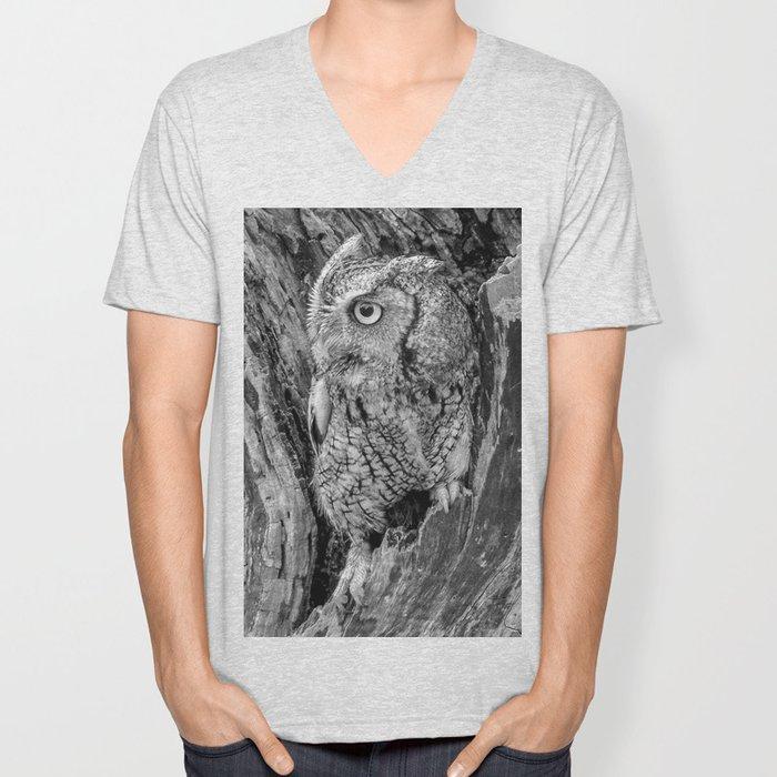 Echo the Screech Owl by Teresa Thompson Unisex V-Neck