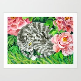 Cat under peonys Art Print