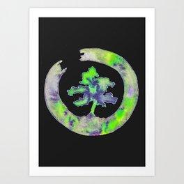Green Enso Bonsai Circle Art Print