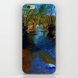 Vibrant river in autumn season iPhone Skin