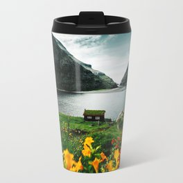 cottage in saksun faroe islands Travel Mug