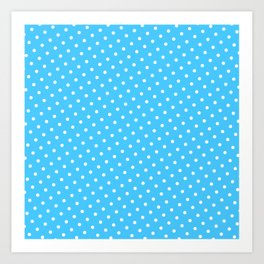 Pastel Goth Pastel Blue Retro Polka Dot (White) Art Print