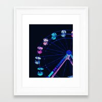 ferris wheel Framed Art Prints featuring Ferris Wheel Pink Blue Aqua by Whimsy Romance & Fun