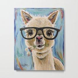 Cute Alpaca With Glasses Metal Print