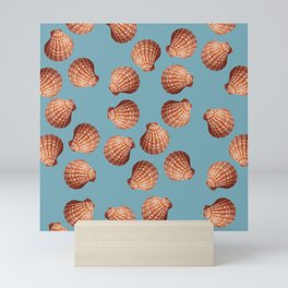 Light blue Big Clam pattern Illustration design Mini Art Print